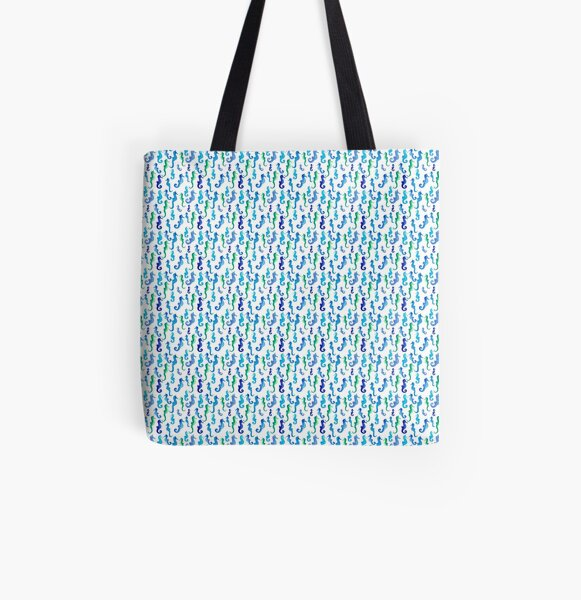 Seahorses All Over Print Tote Bag