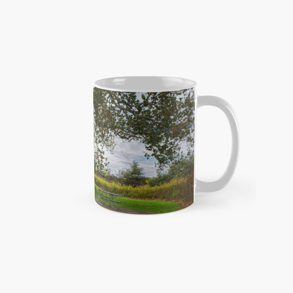 Tree and bench in Walnut Woods Park Classic Mug