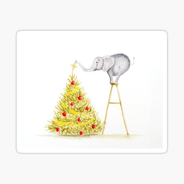 Elephant Decorating the Tree Sticker