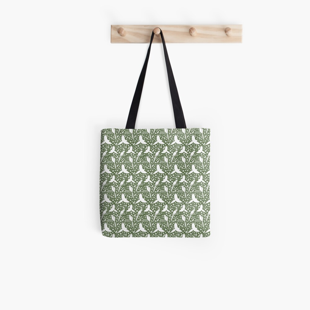 Parrots in the rain green Tote Bag