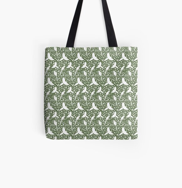 Parrots in the rain green All Over Print Tote Bag
