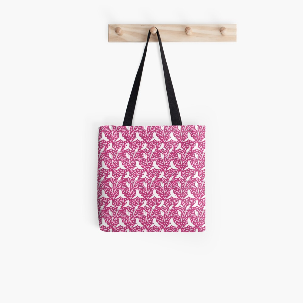 Parrots in the rain pink Tote Bag