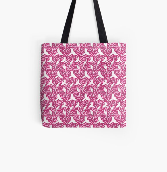 Parrots in the rain pink All Over Print Tote Bag