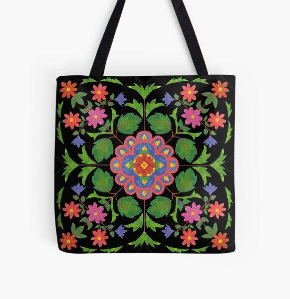 Floral Rangoli Pattern on Black All Over Print Tote Bag