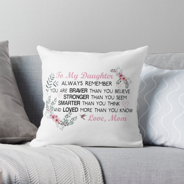 Gifts for Daughter From Mom, Daughters Birthday Gift, Heart with Inspirational Words, to My  Daughter, Body Burlap Throw Pillow Case, Cushion Cover, Home Decorative Square  Throw Pillow