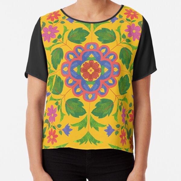 Floral Rangoli Pattern on Yellow Chiffon Top