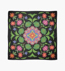 Floral Rangoli Pattern on Black Scarf