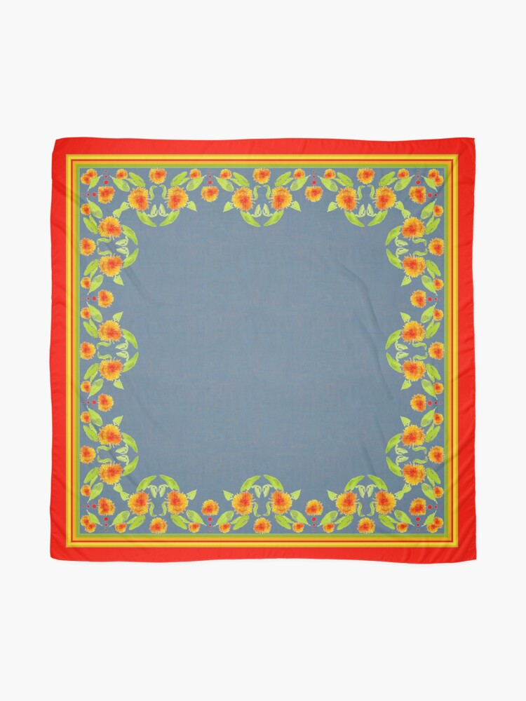 Alternate view of Country Style Marigolds Border on Indigo with Red Edging Scarf