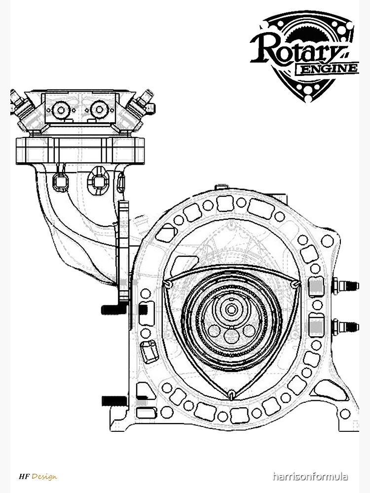 Mazda Rotary Engine Blueprint For Power 13b Spiral Notebook By
