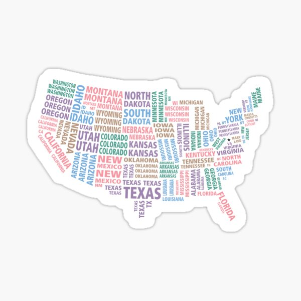 States as Text Map Sticker