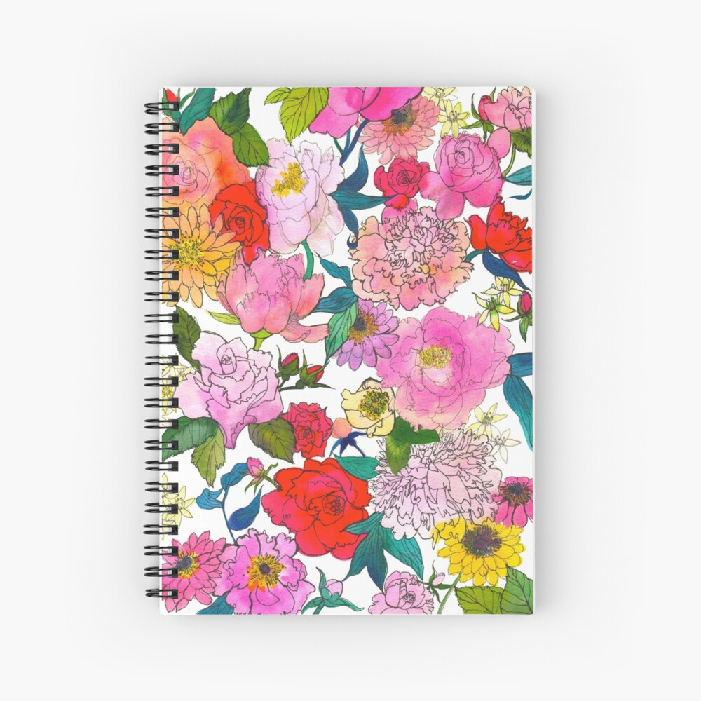 Peonies & Roses Spiral Notebook