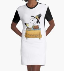 Thanks giving Snoopy Graphic T-Shirt Dress