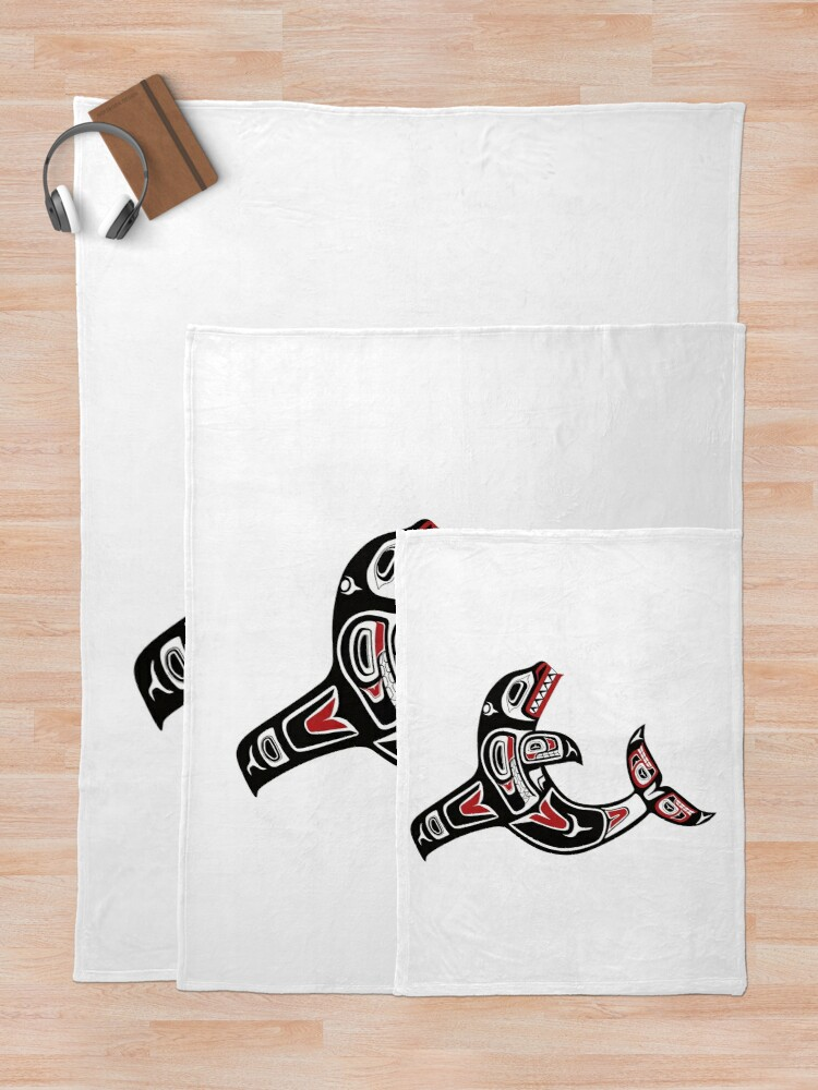 Alternate view of Pacific Northwest Native Orca Killer Whale Throw Blanket
