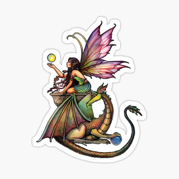 Dragon's Orbs Fairy and Dragon Art Sticker