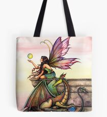 Dragons Orbs Fairy and Dragon Art by Molly Harrison Tote Bag