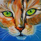Green Eyed Boo-Boo Kitty by sharontaylorart