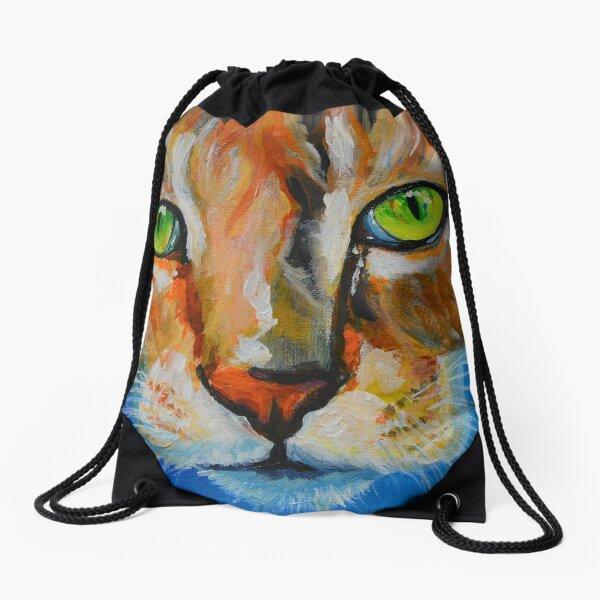 Green Eyed Boo-Boo Kitty Drawstring Bag