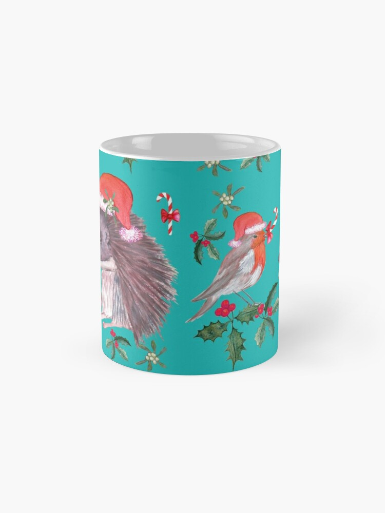 Alternate view of Hedgehog Santa and Robin Santa Christmas, Holidays Mug