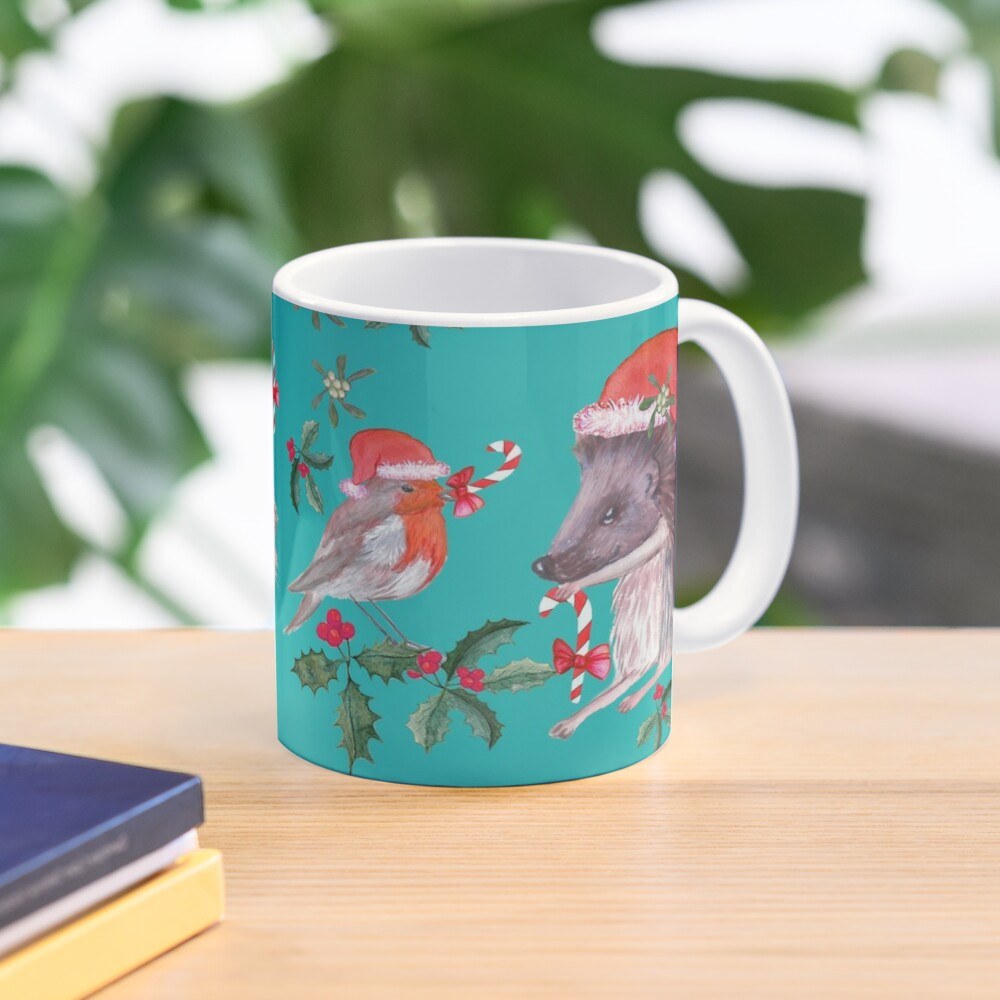 Hedgehog Santa and Robin Santa Christmas, Holidays Mug