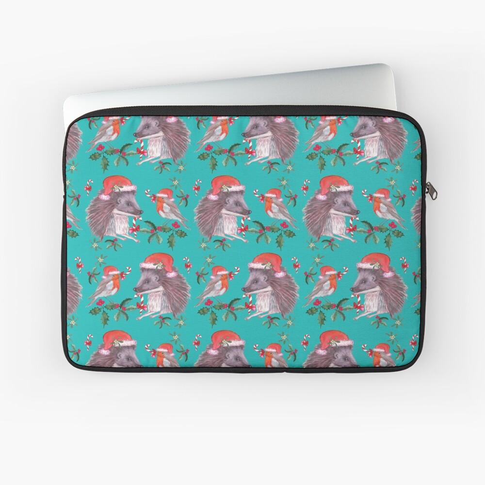 Hedgehog Santa and Robin Santa Christmas, Holidays Laptop Sleeve
