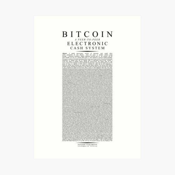 Bitcoin Whitepaper // Satoshi Nakamoto Art Print