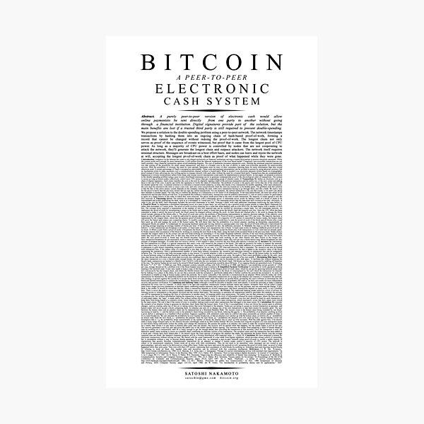 Bitcoin Whitepaper // Satoshi Nakamoto Photographic Print