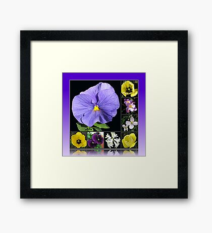 Spring Flowers Collage in Blue and Yellow Gerahmter Kunstdruck