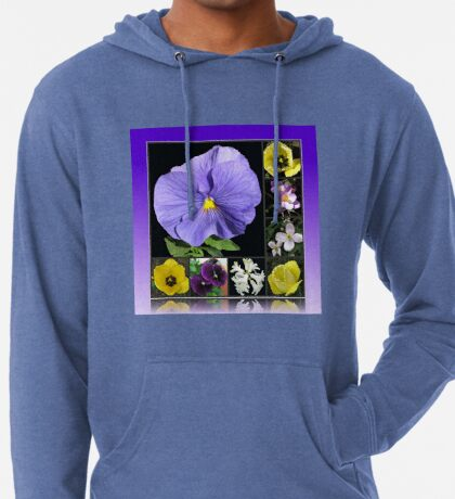 Spring Flowers Collage in Blue and Yellow Leichter Hoodie
