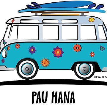 Pau Hana Surfer Van Hippie Bus Teal Side Flower Power by azoid