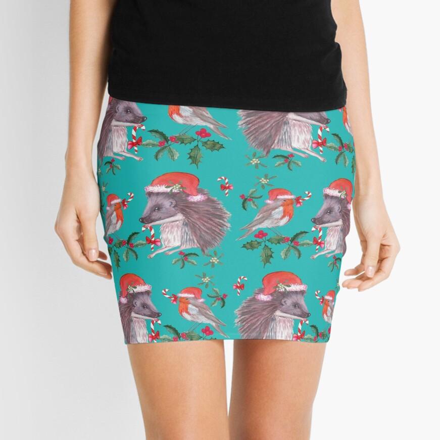 Hedgehog Santa and Robin Santa Christmas, Holidays Mini Skirt