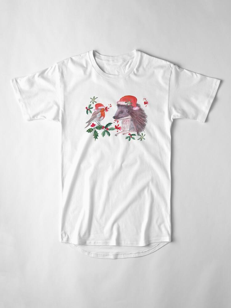 Alternate view of Hedgehog Santa and Robin Santa Christmas, Holidays Long T-Shirt