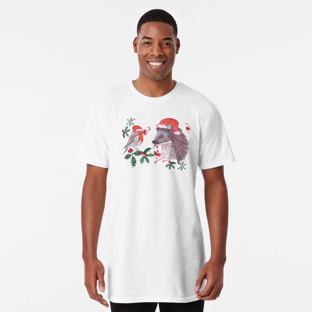 Hedgehog Santa and Robin Santa Christmas, Holidays Long T-Shirt