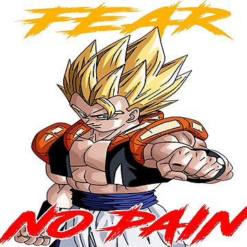 """Gogeta """" Fear No Pain"""" Yellow/Red Letter by mugenjyaj"""