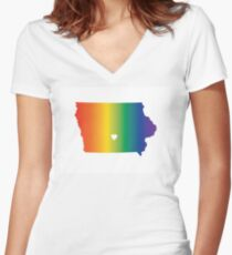 Iowa Pride Women's Fitted V-Neck T-Shirt