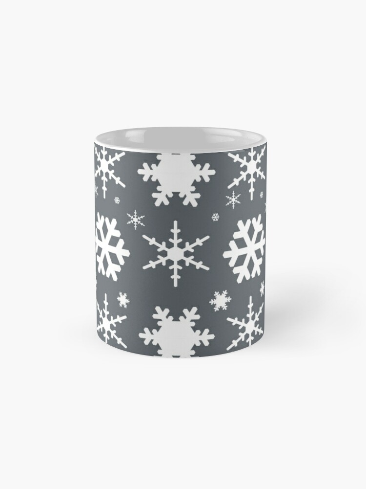 Alternate view of Snowflakes Gray  Mugs