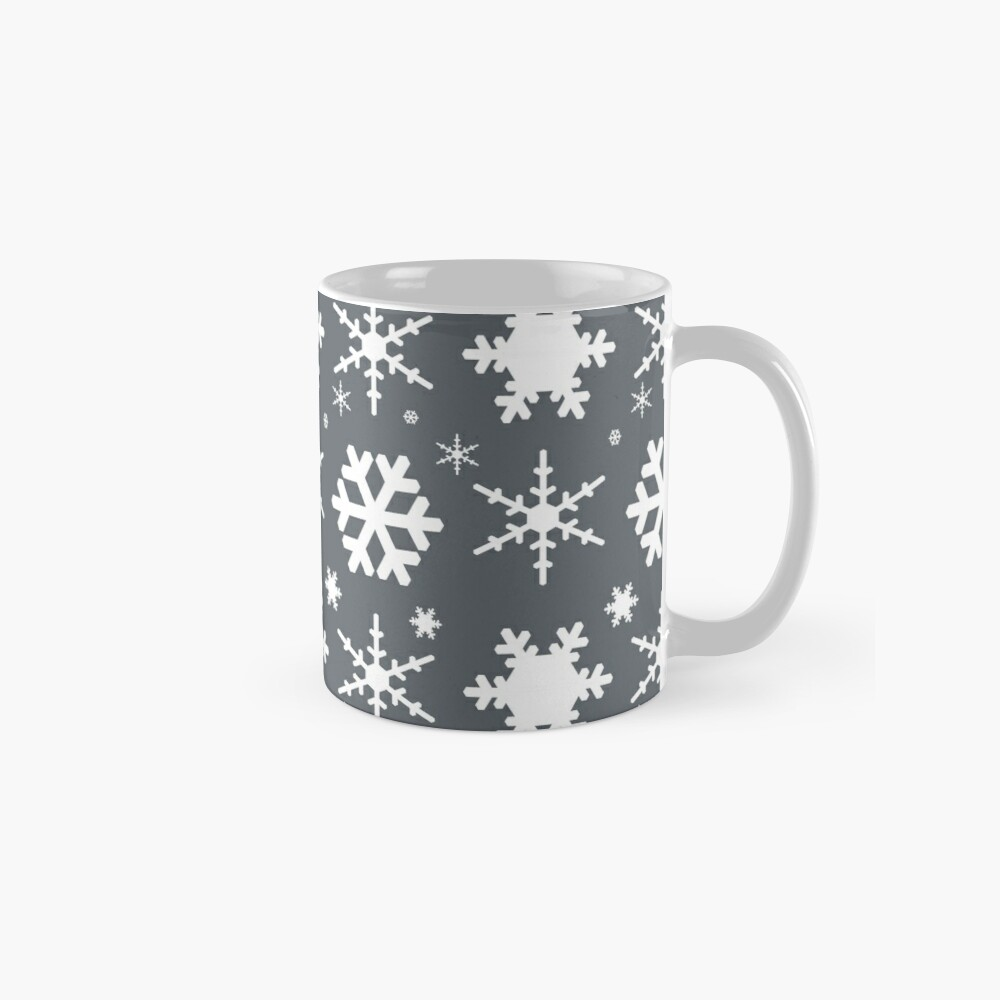 Snowflakes Gray  Mugs