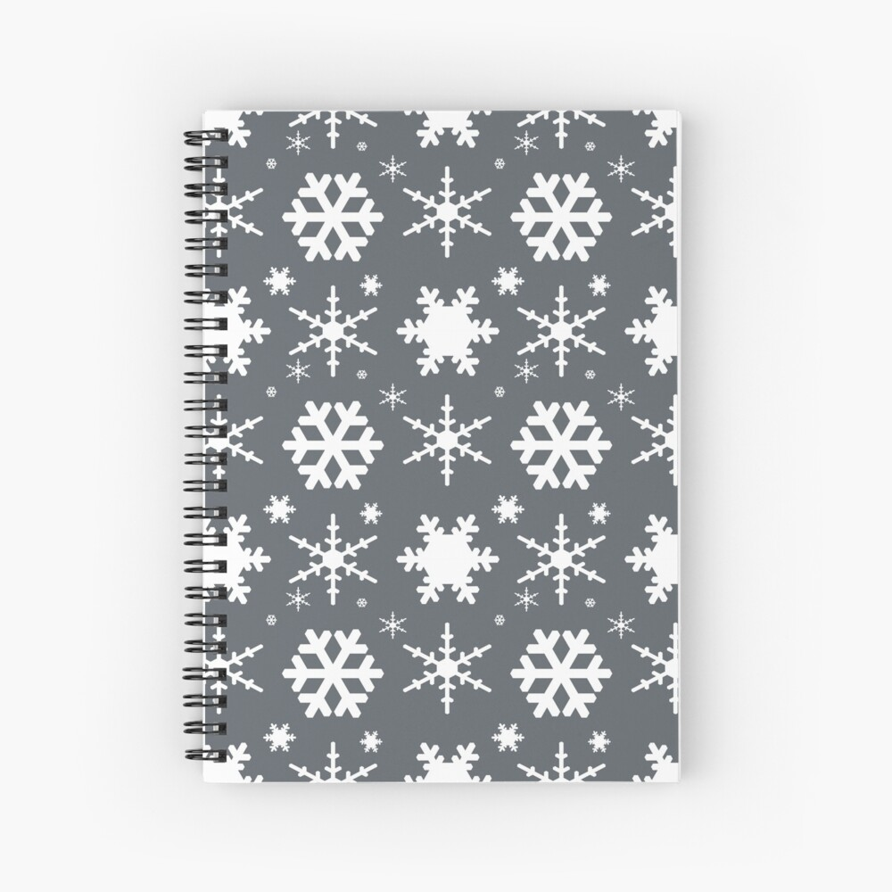 Snowflakes Gray  Spiral Notebook