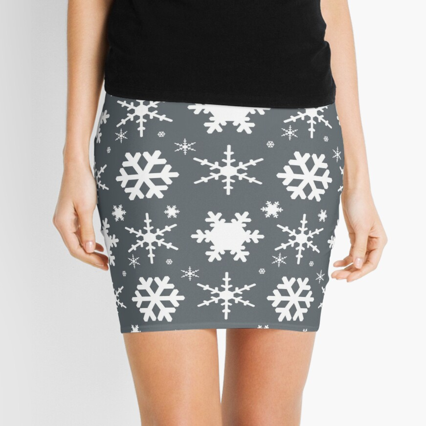 Snowflakes Gray  Mini Skirt