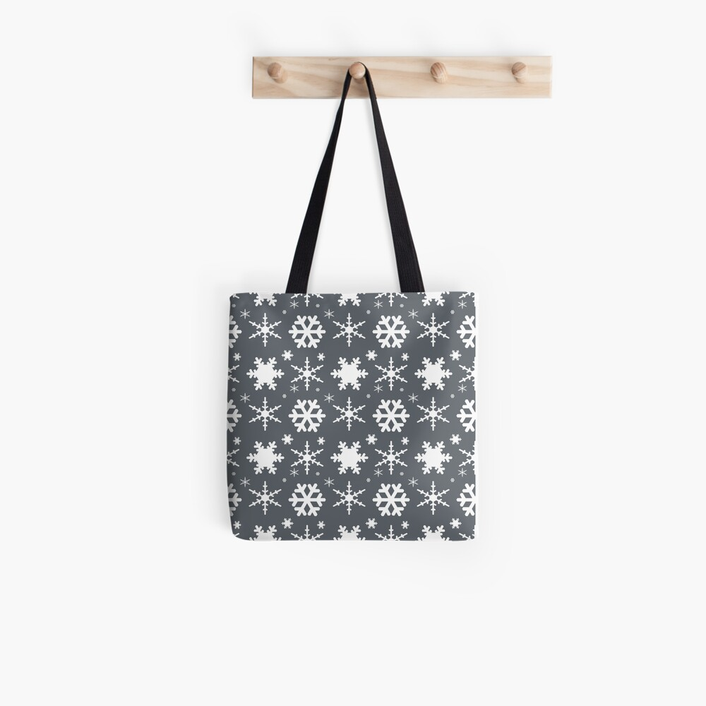 Snowflakes Gray  Tote Bag