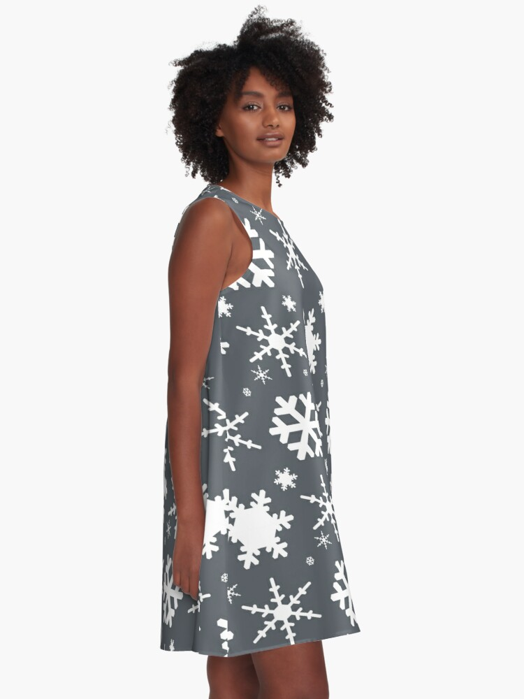 Alternate view of Snowflakes Gray  A-Line Dress