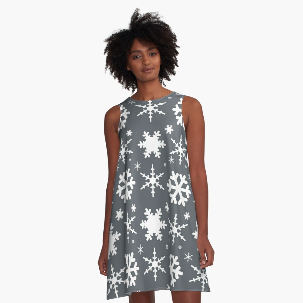 Snowflakes Gray  A-Line Dress