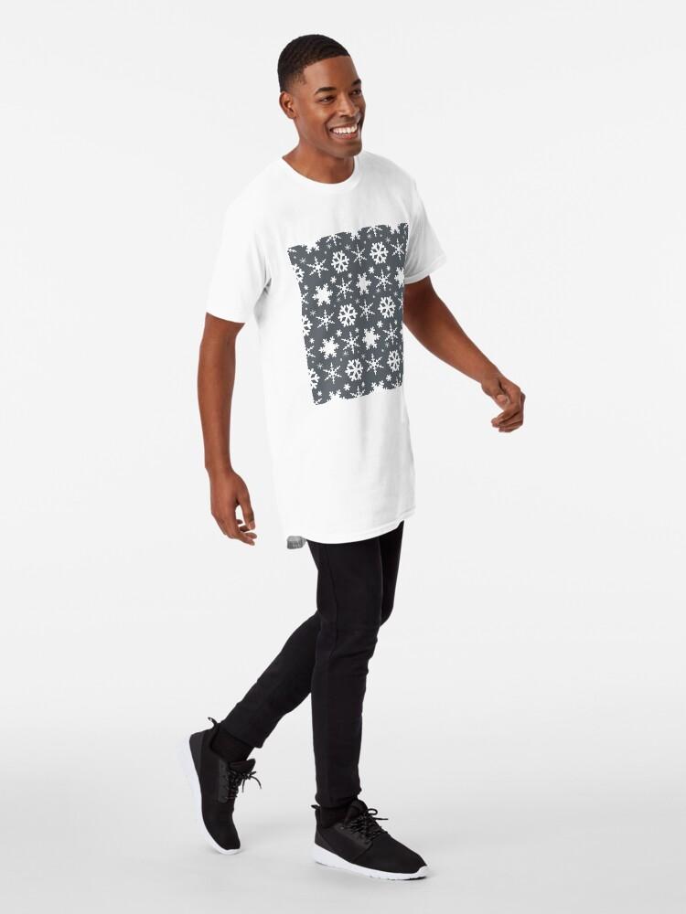 Alternate view of Snowflakes Gray  Long T-Shirt