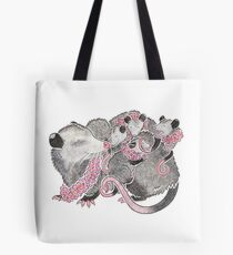 Opossum with babies Tote Bag