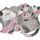 Opossum with babies by animalartbyjess