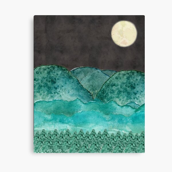 moonlight and mountains Canvas Print