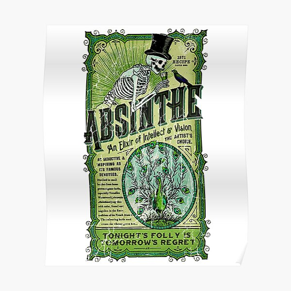 Absinthe an Elixir of Intellect and Vision Vintage T-shirt Poster