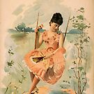 Woman in a Pink Dress by Vintage Works