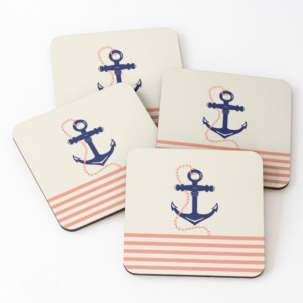 AFE Navy Anchor and Chain Coasters (Set of 4)