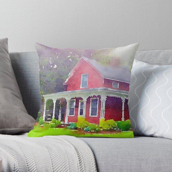 The Red Farmhouse, Norwalk, Ohio Throw Pillow