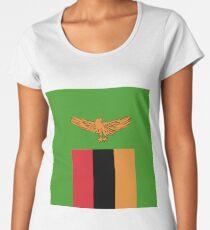 Sambia-Flagge-Emblem Premium Rundhals-Shirt